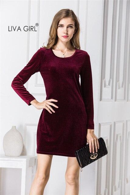 10e0ea037 La moda de Terciopelo Rojo de Manga Larga Del O-cuello de Las Mujeres  Vestidos