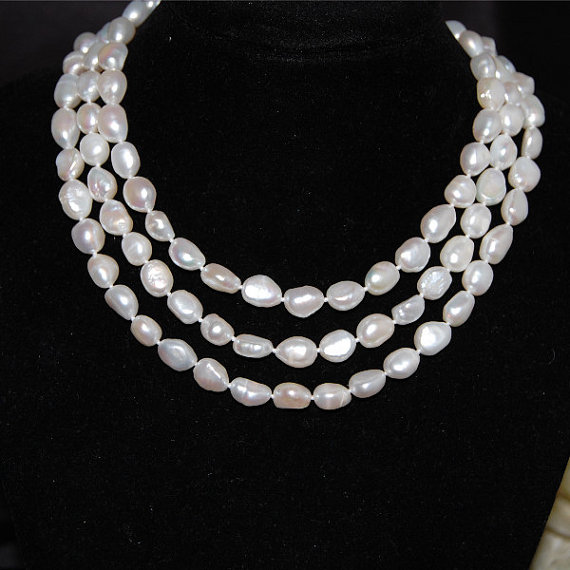 Charming 8-9mm Natural White Baroque Freshwater Pearl Necklace,110cm Long Irregular Pearl Jewellery,Wedding Party Moms GiftCharming 8-9mm Natural White Baroque Freshwater Pearl Necklace,110cm Long Irregular Pearl Jewellery,Wedding Party Moms Gift