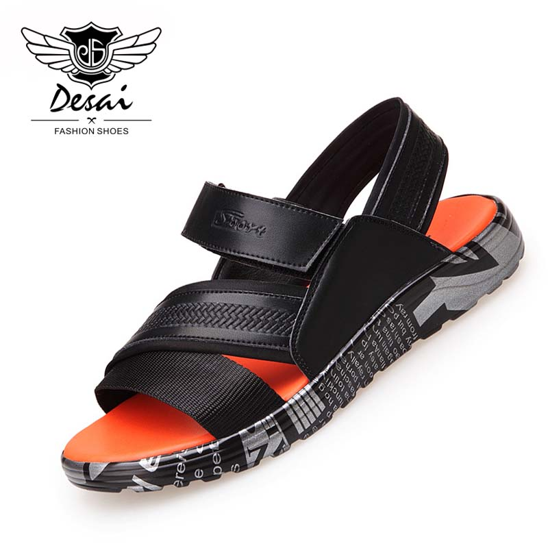 DESAI 2018 Summer New Shoes Men Casual Sandals Toes Cool Fashion Soft Bottom Beach Shoes Brand Men Sandals Breathable Shoes