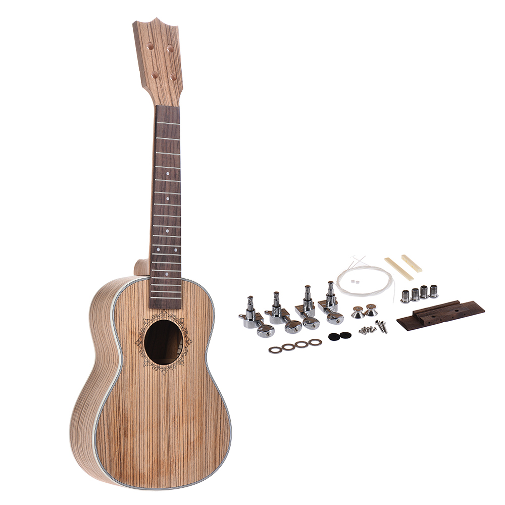 26in Ukulele  DIY Kit Tenor Ukelele  DIY Kit Hawaii Guitar Rosewood Fingerboard With Pegs String Bridge Nut