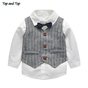 Image 2 - עליון ועליון חורף ילדי בגדי אדון בני ביגוד סט חולצה + אפוד + מכנסיים ולקשור מסיבת תינוק בני בגדי 3 יח\סט