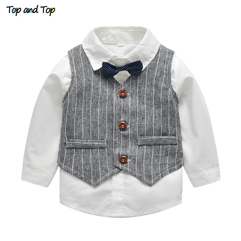 Image 2 - Top and Top Winter Children Clothing Gentleman Kids Boys Clothes Set Shirt+Vest+Pants and Tie Party Baby Boys Clothes 3Pcs/set-in Clothing Sets from Mother & Kids