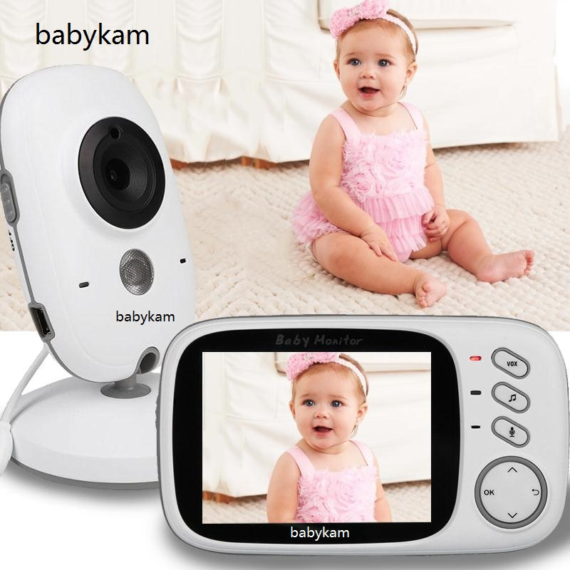 Babykam Fetal Doppler video nanny 3.2 inch LCD IR Night vision 2 way talk 8 lullabies Temperature monitor baba electronics fetal mock neck striped tee