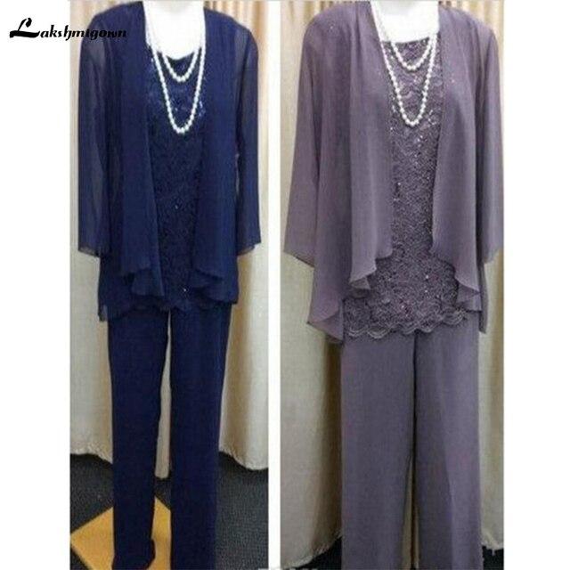 faf3df9050fb9 Vintage Mother of the Bride Dresses Pants Suit With Chiffon Jacket Lace  Wedding Guest Dresses 3 Pieces vestido de madrinha 2018