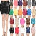 2017 весна осень женская мода юбки пу искусственной кожи юбки плотно стрейч женские короткие карандаш мини-юбки saias femininas