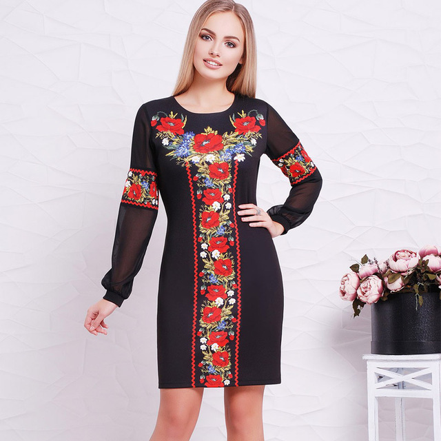 2018 New Designer Women Dress O Neck Flower Casual Straight Full Sleeve Female Dresses Sexy Big Size 6XL  Ukrainian Vestidos 1