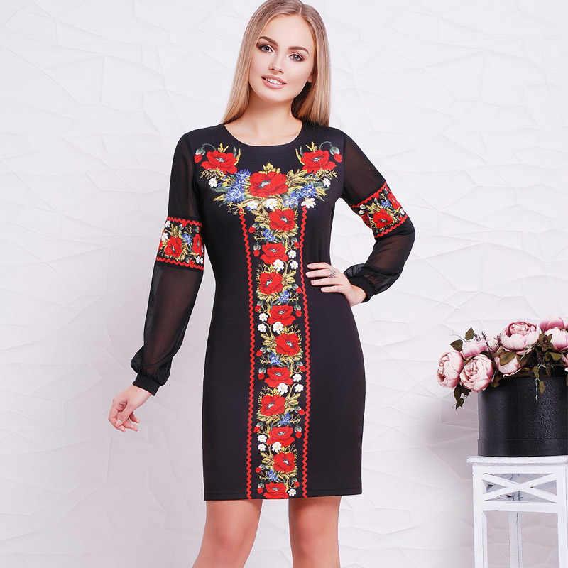 2018 nowy projektant kobiet sukienka O kwiat na szyję Casual prosto pełna rękaw sukienki damskie Sexy Big Size 6XL ukraiński Vestidos