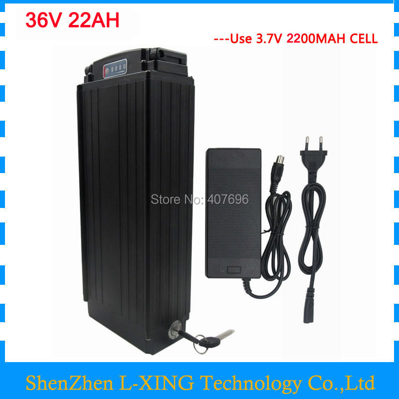 36v 22ah battery 36V rear rack battery ebike battery li ion 36V 30A BMS with tail light 2A Charger for 36V e bike free shipping