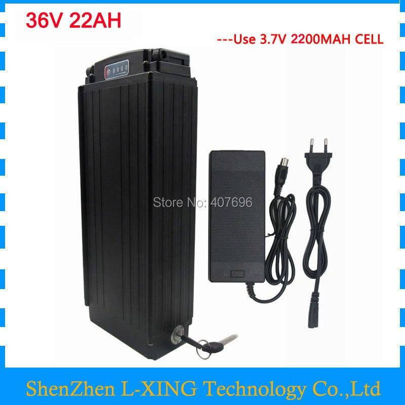 36 v 22ah batteria 36 v batteria portapacchi posteriore batteria ebike batteria li-ion 36 v 30A BMS con la luce di coda 2A caricabatteria per 36 v e della bici di trasporto libero