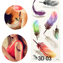 Colorful 3D On Body Art Chest Body Tattoo Stickers Glitter Temporary Tattoos Removal Fake Small Feathers Wings Decal Tattoo