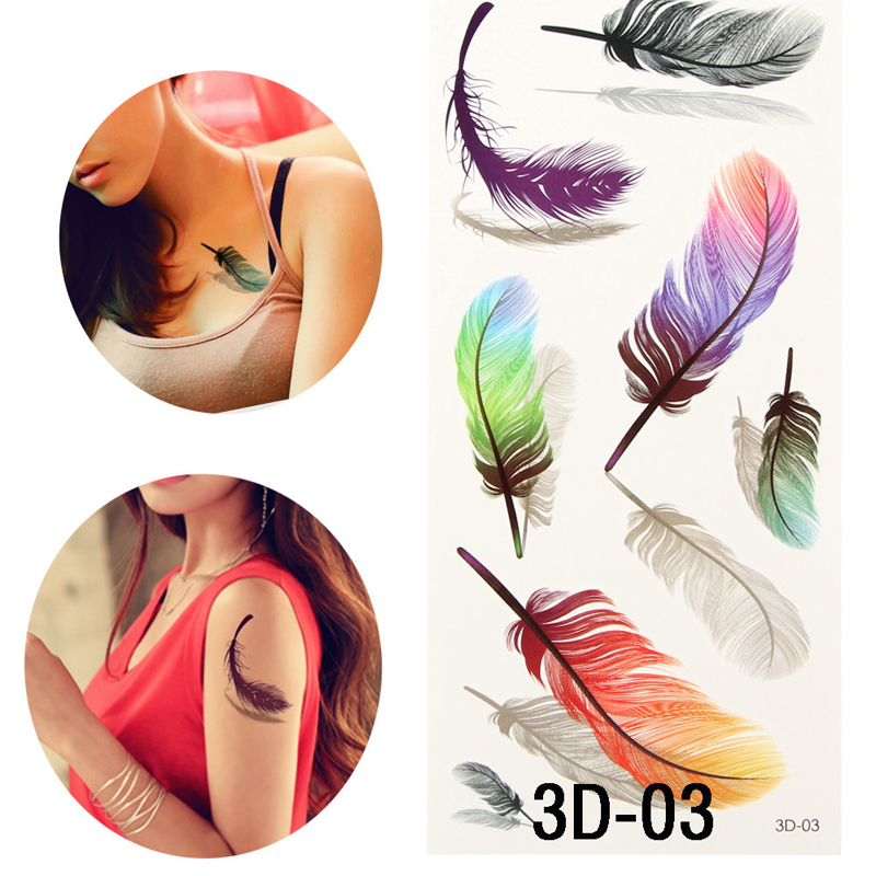 Colorful 3d on body art chest body tattoo stickers glitter for Removal of temporary tattoos