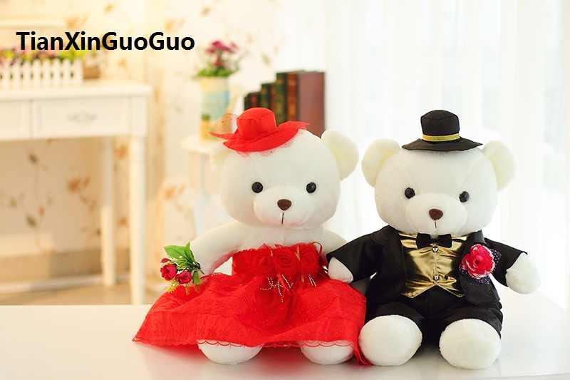 Brinquedo de pelúcia sobre 40 cm proposta de casamento ursos de pelúcia macia boneca de brinquedo de pelúcia ursos de casais, presente de casamento w2978