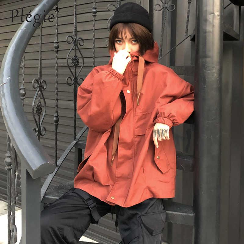 Plegie Harajuku Übergroßen Jacke Frauen 2019 Frühling Herbst Patchwork Mit Kapuze Jacke Bf Stil Colleage Studenten Lose Jacke Mantel