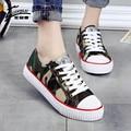 Novas Mulheres Sapatas de Lona de Camuflagem Mulheres Sapatos Rasos Mulheres sapatos de Caminhada Respirável Sapatos Ao Ar Livre Mulher chaussure femme