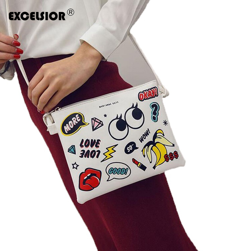 excelsior 2017 hot cartoon graffiti printed women handbag mini crossbody shoulder bag lady daily. Black Bedroom Furniture Sets. Home Design Ideas