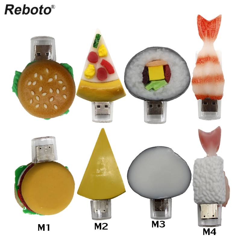 Reboto Pendrive cartoon Korean sushi pendriver 8gb 16gb 32gb 64gb usb flash drive hamburger gift font