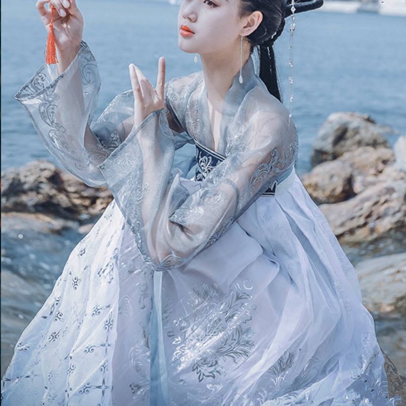 White Hanfu Festival Outfit Dance Costume For Women Festival Rave Clothes Ethnic Han Dynasty Cosplay Hanfu Stage Costumes BL1237