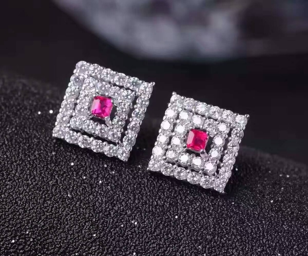 natural ruby stone earrings 925 silver Natural red gemstone earring women classic square fine earrings jewelry for wedding