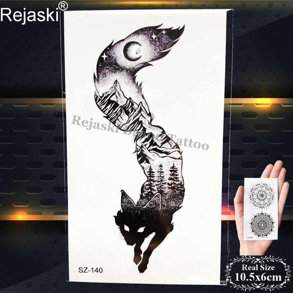 Little Geometric Wolf ชั่วคราว Tattoo สติกเกอร์ Body Art Ear Fake Tatto สามเหลี่ยมผู้ชายแขนสีดำกันน้ำ Tattoo Totem Fox
