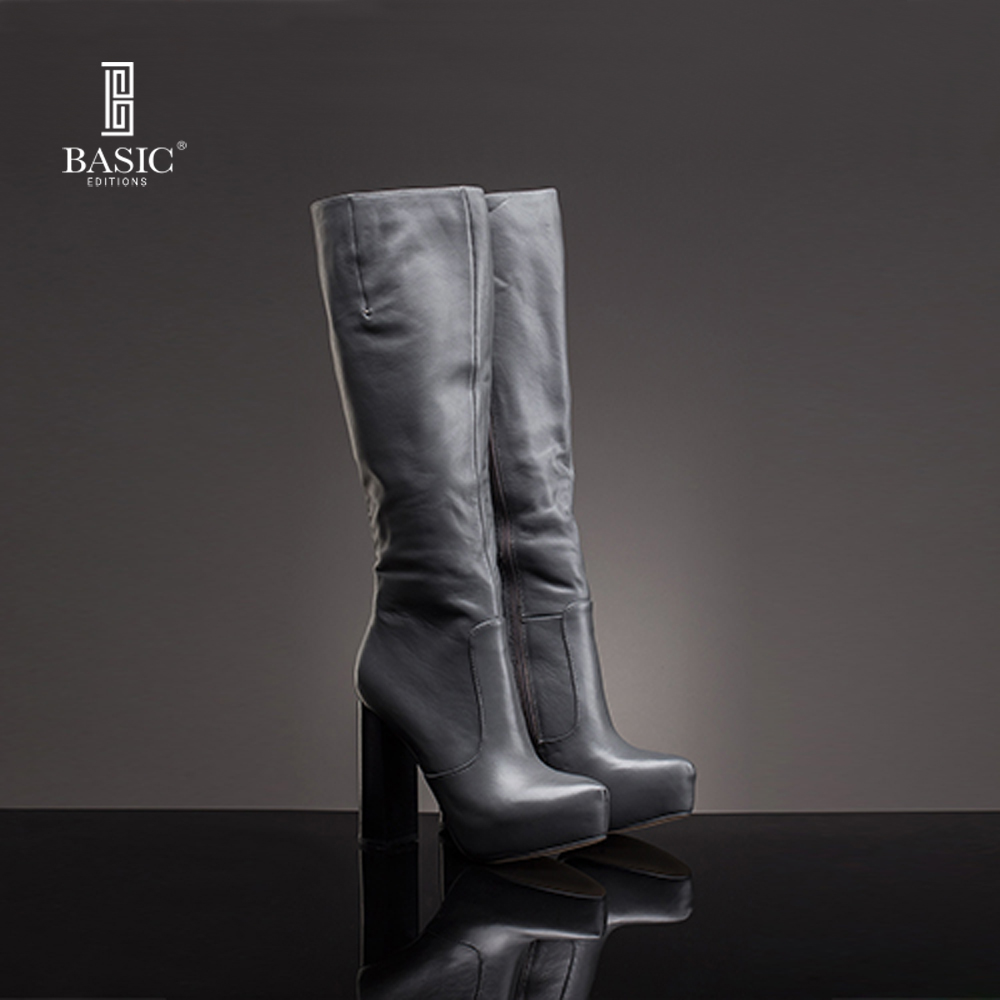 Basic Editions Women Boots Winter Dress Genuine Leather Long High Heel Shoes ZH464 05
