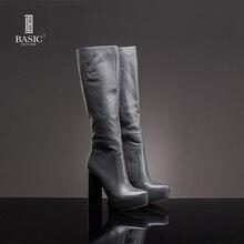 Basic Editions Femmes Bottes Hiver Robe En Cuir Véritable à Talons Hauts Longtemps Shoes-ZH464-05