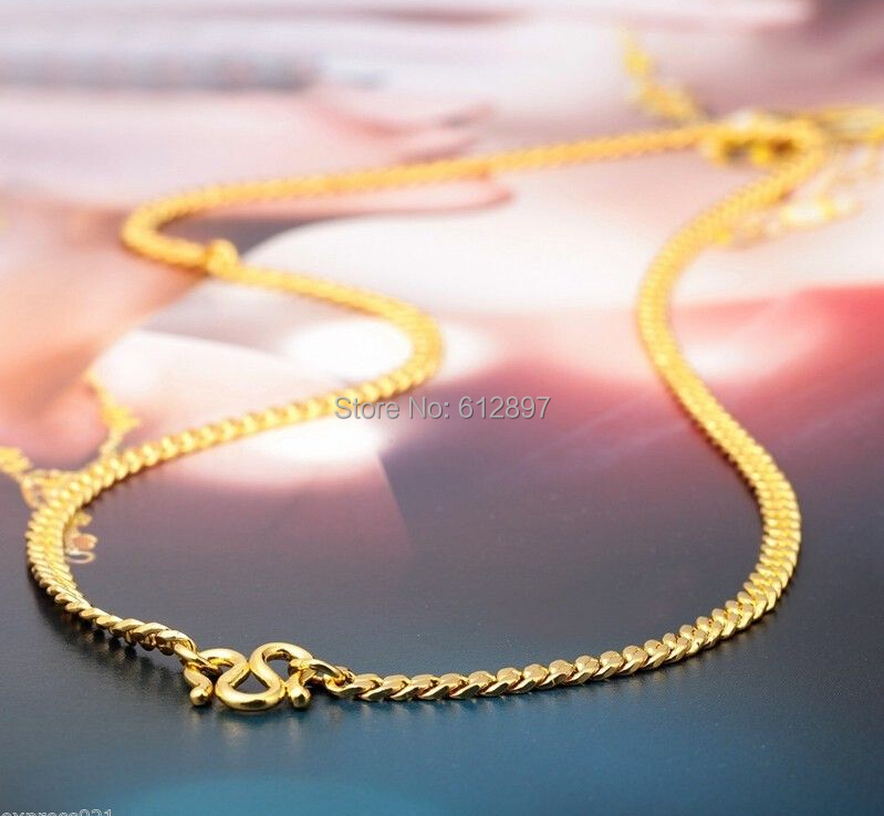 где купить Hot sale Pure 24K Yellow Gold Necklace / Boss Curb Necklace / 8.25g дешево