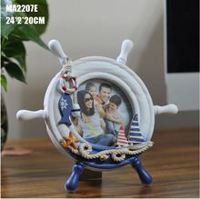 free shipping 1pcs/lot Mediterranean style home decoration density board round anchor photo frame favors nautical decor gifts