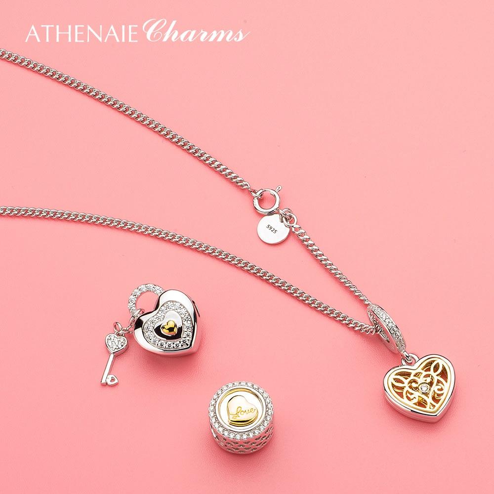 ATHENAIE 925 เงินสเตอร์ลิง Pave 14Kt จี้ทองและ Clear CZ โรแมนติกหัวใจ Charms ลูกปัดสร้อยคอและสร้อยข้อมือสำหรับผู้หญิง บน   3