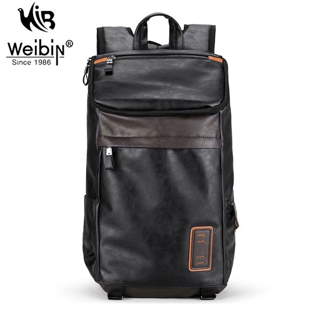 Weibin Men's Backpack Men PU Leather School backpacks For Teenagers 14 inch Laptop Bag Fashion Multi-pocket Travel Bags 2017
