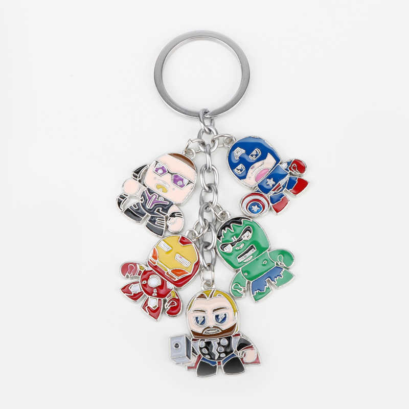 dongsheng Marvel The Avengers Keychain Superhero Captain America Thor Hulk Iron Man Metal Figures Car Key Chains Rings -50