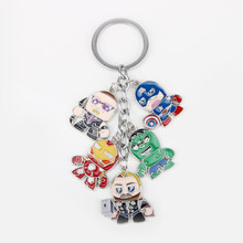 dongsheng Marvel The Avengers Keychain Superhero Captain America Thor Hulk Iron Man Metal Figures Car Key Chains Rings -50(China)