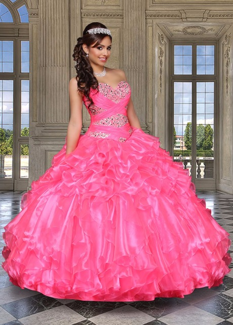a824a619c9 Sweet 16 Dresses Crystals Hot Pink Ball Gown Quinceaneara Dresses 2017  Sweetheart Ruffles Organza Puffy Prom Dresses