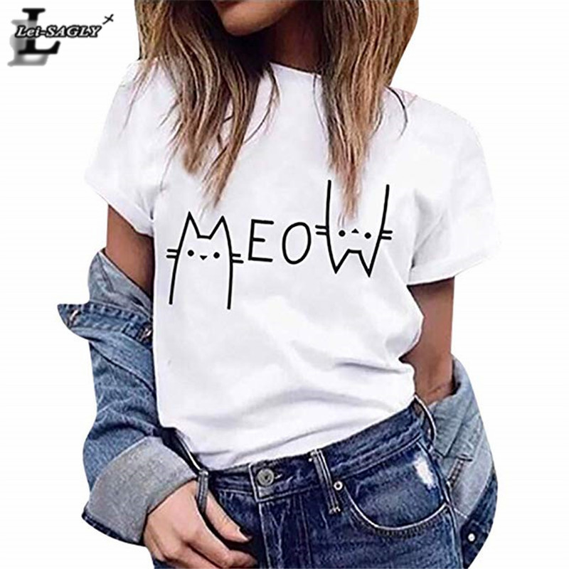 Lei SAGLY MEOW Cute Cat Lover Female   T     Shirt   Women White Casual Short Sleeved Tshirt Streetwear Cartoon Print Homme Super Soft   T