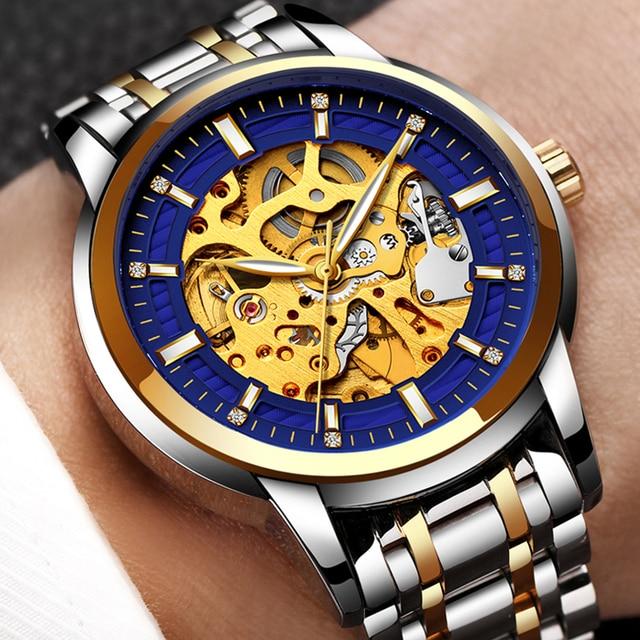 588488bad0d8 LIGE relojes de los hombres Top mecánico automático de lujo impermeable del  reloj del negocio de