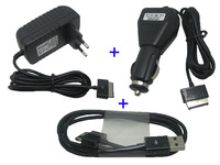 Car Charger Date Sync Cable AC EU Adaptor Power For Asus Eee Pad Transformer TF300 TF201