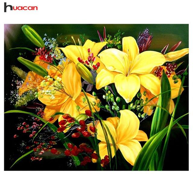Huacan Diament Malarstwo Flower Zdjęcia Dżetów Diament Mozaika Sprzedaż Home Decoration Diament Haft Pełne Placu
