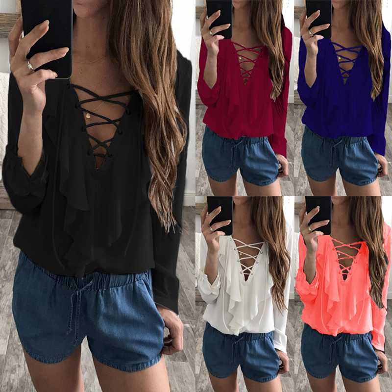 2018 Fashion Spring Summer Women Chiffon Blouse Sexy Lace Up V Neck Ruffles Long Sleeve Black White Tops Casual Plus Size Shirts 3