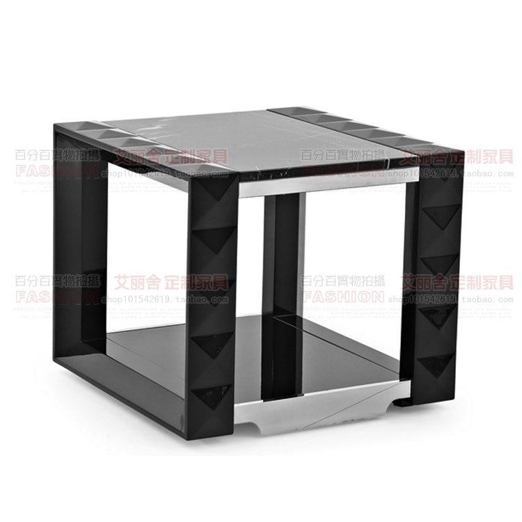 Modern Piano Small Coffee Table Italian Marble Glass Wind Angle A