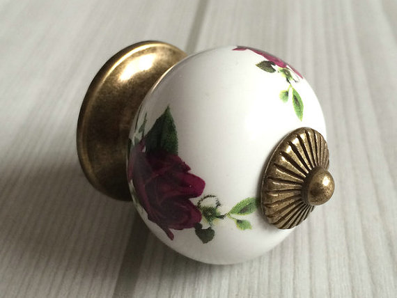 Purple Rose Dresser Knob Drawer Knobs Kitchen Cabinet Handles Rustic Antique Bronze Door Handle Pull Ceramic Knobs Hardware kemekiss women slippers clip toe flat heel crystal shine women summer shoes fashion korean holidays footwear size 36 40