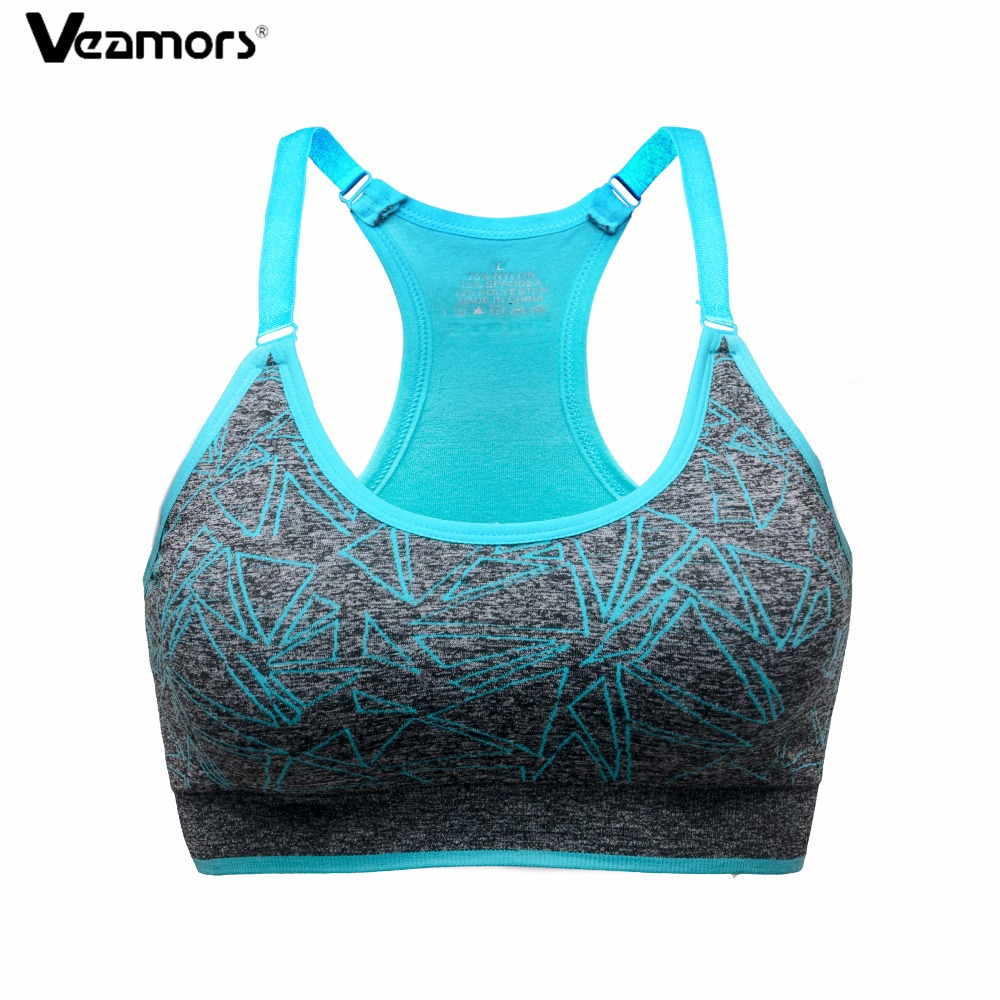 11244184a5c Veamors women adjustable straps padded sports bra absorb sweat quick fitness  underwear shockproof yoga running vest