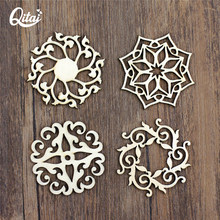 Qitai 16 pçs/lote 4 estilos flores artesanato de madeira estatuetas miniaturas diy scrapbooking ornamento decoração para casa wf292
