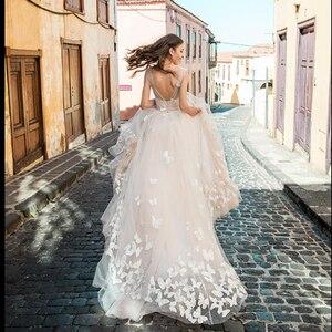 Image 1 - Smileven Boho 웨딩 드레스 2019 3D Appliques 신부 드레스 Vestido De Novia V 넥 나비 웨딩 드레스 Robe De Mariee