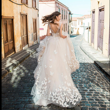 Smileven Boho Wedding Dress 2019 3D Appliques Bride Dresses Vestido De Novia V Neck Butterfly Wedding Gown Robe De Mariee