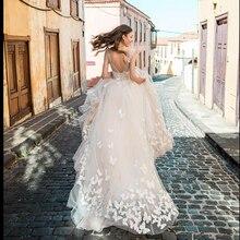 Smileven Boho düğün elbisesi 2019 3D aplikler gelin elbiseler Vestido De Novia V boyunlu kelebek gelinlik Robe De Mariee