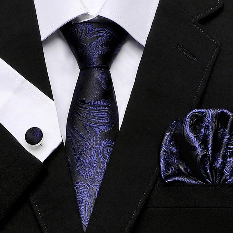 New Men/'s Brand Q Microfiber Reversible Necktie /& Hankie Set Paisley Blue
