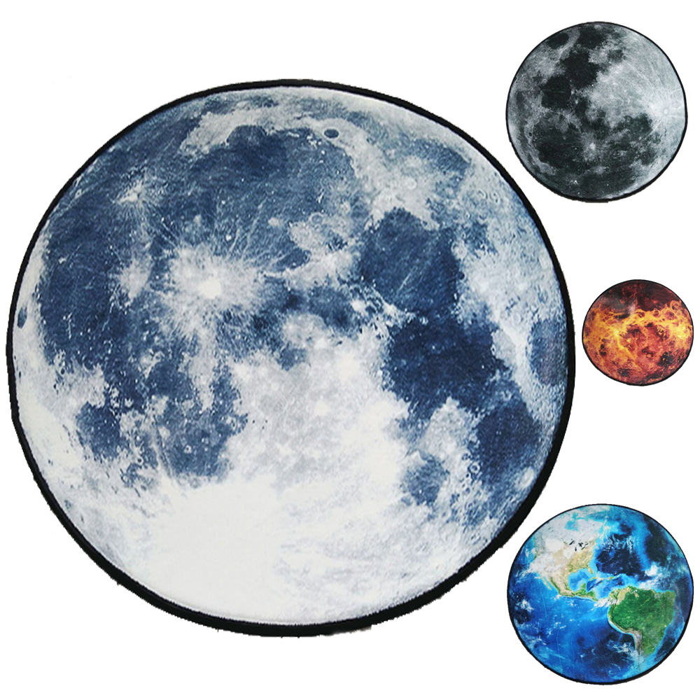 Gray Moon Stars Mars Blue Earth Design Soft Thicken Coral Velvet Round Carpet and Rug for