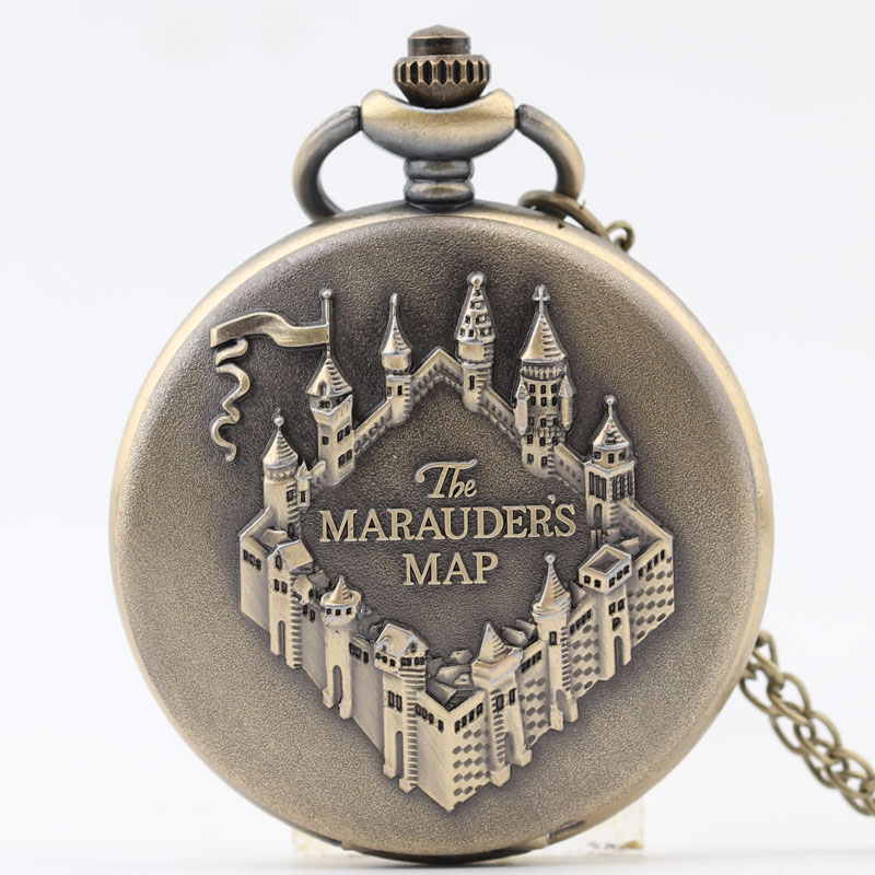 Pocket & Fob Watch New Bronze The Marauder's Map Pendant Pocket Watch for Women/Men Quartz Pocket Watch Necklace Watch Gift