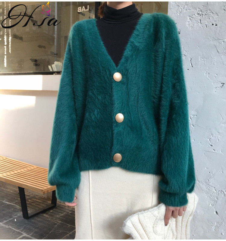 H.SA 2019 Autumn New Arrivals Sweater Cardigans Single Breasted Mohair Knitwear Sweater Jumpers Harajuku Knit Jacket Outwear Top