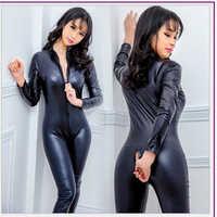 Hot Sexy Dessous Latex Erotische PVC Catsuit Kostüme Bodys Fetisch Doppel-reißverschluss Long Sleeves Open Gabelung Pole Dance Clubwear