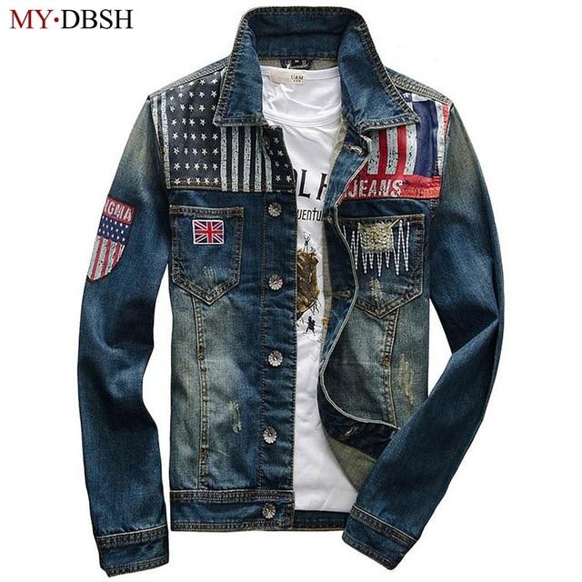 New 2018 Fashion British Style Men Denim Jacket Brand Clothing